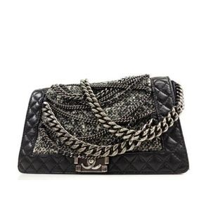 Chanel Black Tweed Boy Enchained Medium Chain Flap